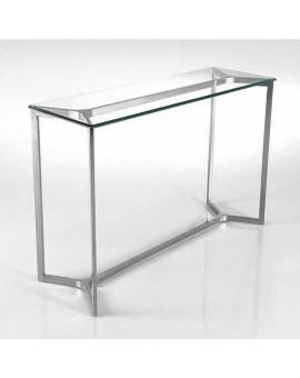 Console Dixe métal chromé et verre par Galea