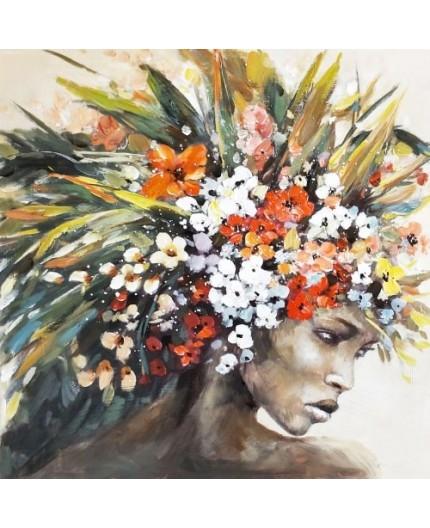 Femme exotique fleurs tableaux acrylique