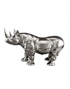 Sculpture argent rhinocéros Ahura